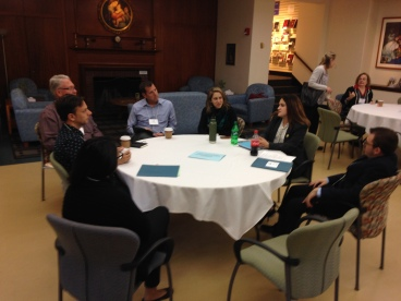 One of the World Cafe table discussions at the 2018 retreat